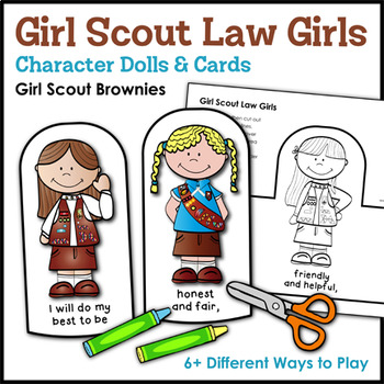 Girl Scout Law Girls: Character Dolls & Cards - Girl Scout Brownies