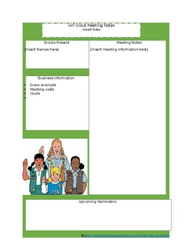 Girl Scout Parent Notes Template