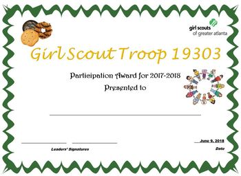 Girl Scout Participation Certificate