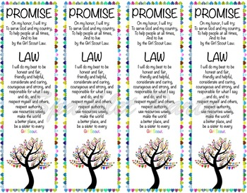 Girl Scout Promise and Law Bookmark