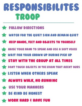 Girl Scout Responsibility Sheet for coloring and display