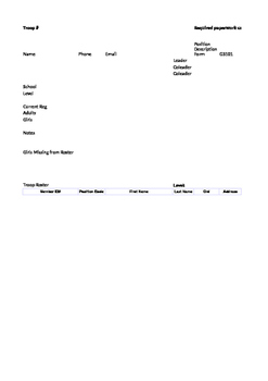 Girl Scout Service Unit Troop Tracking Sheet