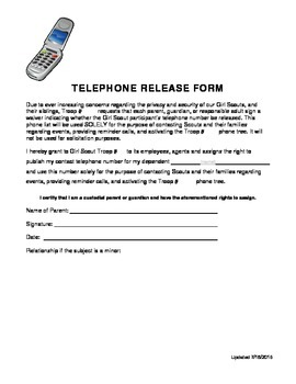 Girl Scout TELEPHONE RELEASE FORM