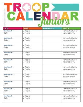 girl scout calendar template girl scout troop calendar by iamgirlscouts teachers pay