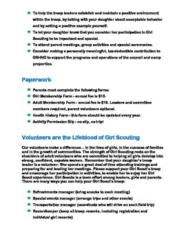 Girl Scout Troop Parent Handbook [PDF]