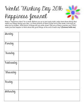 Girl Scout World Thinking Day 2016 Happiness Journal for Daisies