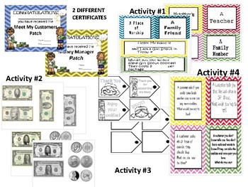 Girl Scout cookie activites  - meet my customer / money manager patch