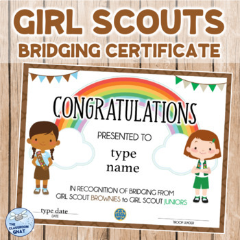 Girl Scouts Bridging Certificate BROWNIE TO JUNIOR