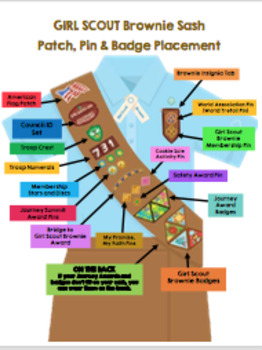 Girl Scouts Brownie Sash Patch, Pin & Badge Placement