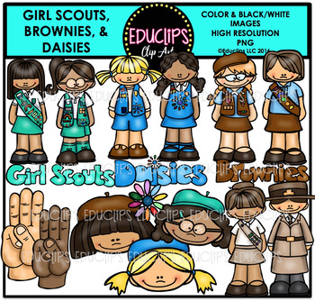 Girl Scouts, Brownies and Daisies Clip Art Bundle {Educlips Clipart}