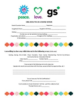 Girl Scouts Caregiver Involvement Form