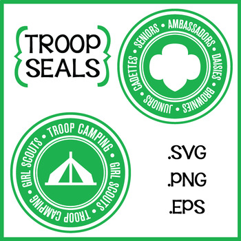Girl Scouts Inspired Troop Levels and Camping Seals SVG EPS PNG Clipart