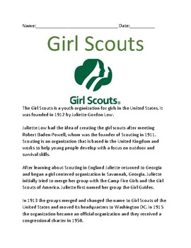 Girl Scouts - lesson overview history facts information questions word search