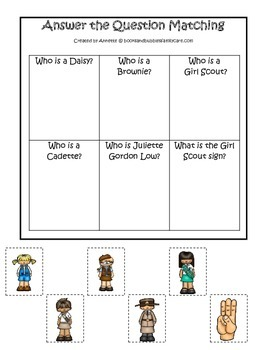 Girl Scouts themed Answer the Question printable game.  Preschool activity.