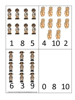 Girl Scouts themed Count and Clip Cards child math curriculum.