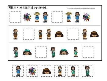 Girl Scouts themed Fill in the Missing Pattern preschool printable game.