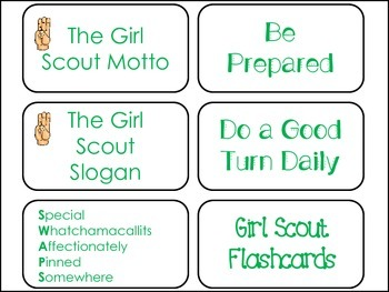 Girl Scouts Flash Cards. Learn the Law, Promise, Motto, and Slogan.