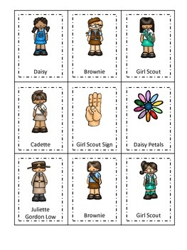 Girl Scouts themed Three Part Matching preschool printable activity.