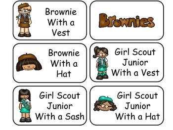 Girl Scouts themed printable Picture Word Flash Cards  Preschool flashcards