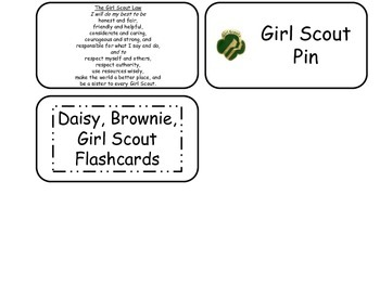 Girl Scouts themed printable Picture Word Flash Cards. Preschool flashcards.