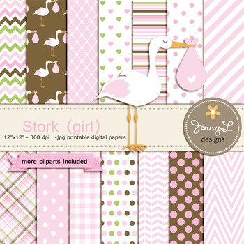 Girl Stork digital paper and clipart