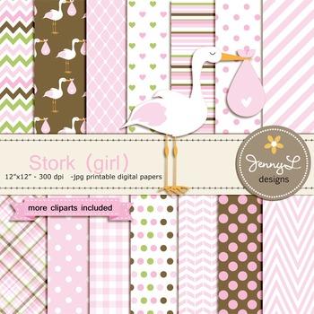 Girl Stork digital paper and clipart