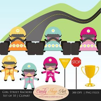 Girl Street Racers, Car Drivers, Race Car Clipart - Teacher Resources