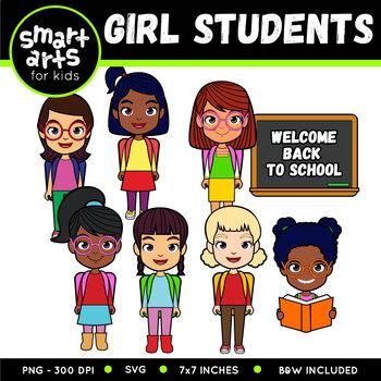 Girl Students Digital Clipart