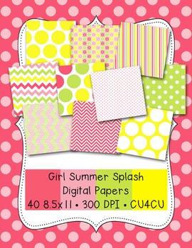 Girl Summer Splash Digital Papers