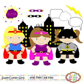 Girl Super Hero Clip Art or Clipart - Girl Superheroes Clip Art