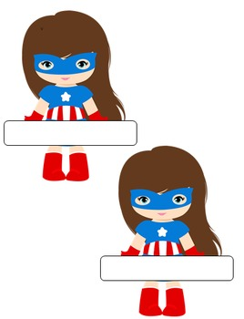 8 Different Girl Super Hero Nameplates