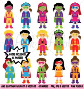 Girl Superhero Clipart Clip Art, Girl Superheroes Clip Art Clipart