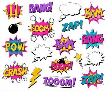 Girl Superhero Clipart Comic Book Speech Bubbles, Boom, Zap, Bang, Bam, Pow