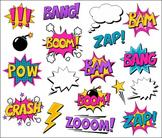Girl Superhero Clipart Comic Book Speech Bubbles, Boom, Za