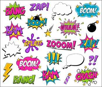 Girl Superhero Clipart Comic Book Speech Bubbles, Boom, Zap, Bang, Bam, Pow