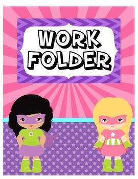 Girl Superhero Work Folder Cover