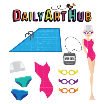 Girl Swimmer Clip Art - Great for Art Class Projects!