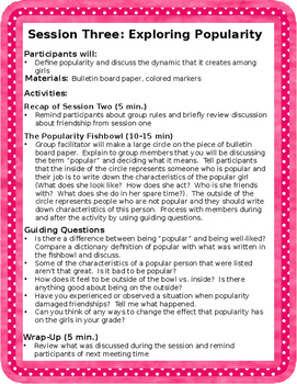 Girl Talk: A Friendship Group for Elementary and Middle School Girls