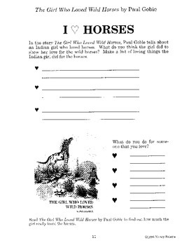 Girl Who Loved Wild Horses Literature Guide