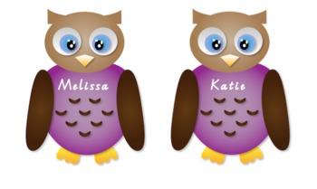 Girl and Boy Owl Name Tags