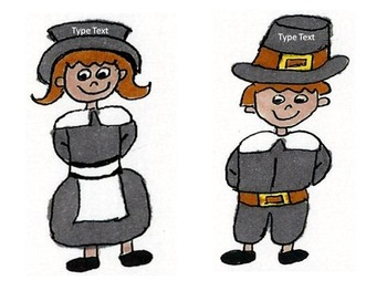 Girl and Boy Pilgrims Editable Labels Thanksgiving Fall
