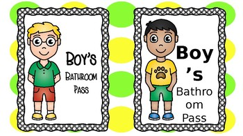 Girl and Boy bathroom passes