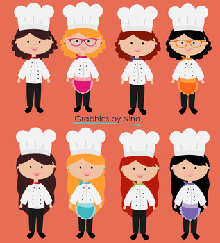 Girl chef clipart