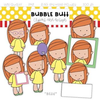 Girl clip art Beth by Bubble Butt clip art and design