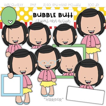 "Girl clip art ""Harper"" by Bubble Butt clip art and design"