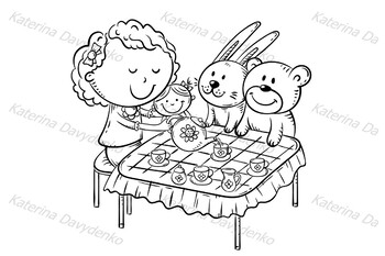 Girl is playing with her toys making tea party at the table with small cups