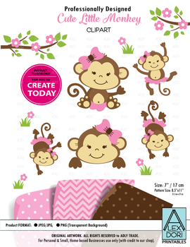 Girl monkey clipart pink bowtie pink monkey clipart jungle leaves