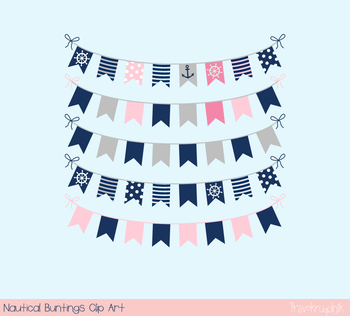 Girl nautical bunting clipart, Kid birthday party banner, Summer holiday pennant