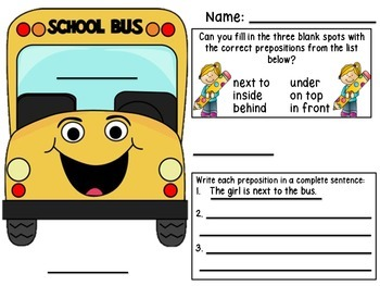 Girl on a Bus English+Spanish Prepositions