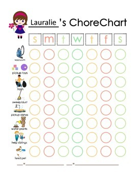 Girl or Boy Customizeable Chore Chart, Get Ready Chart (20